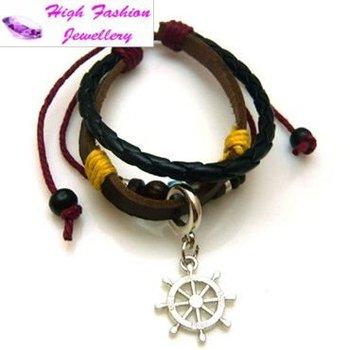 free shipping leather wristband,wholesale handmade cute bead bracelet,hot genuine leather bracelet with alloy charm 24pcs/lot
