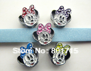 Stocked DIY charms Wholesale 100pcs Mickey Mouse Head Mix Color 8mm slide Charms fit 8mm Belt Pet Collar Wristband