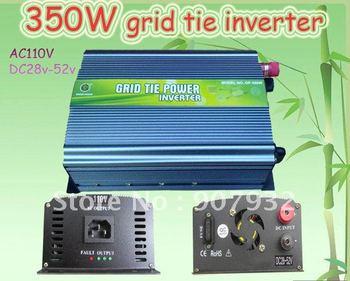 350W Grid Tie Inverter 28V-52V DC(350 watt, 110V-for USA/CANADA/JAPAN, High Efficiency, Free Shipping)