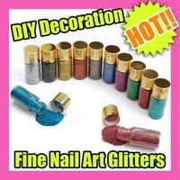 Best Selling Freeshipping 12PCS/LOT 12 Color Fine Glitters Decoration Nail Art Powder Dust Bottle C052