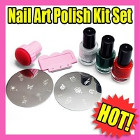 Best Selling Freeshipping 7pcs/Set nail art polish kit set stamper plate polish 5set C130