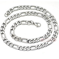 Free shipping, 55cm, 9mm, 316L stainless steel mens necklace, Figaro Chain, Fashion Jewelry, wholesale WN013