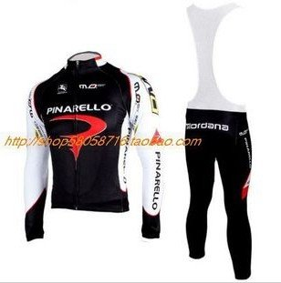2010  PINARELLO Long Sleeve Cycling Jersey Cycling Wear + Bib Pants