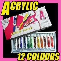 Best Selling Freeshipping 12PCS/LOT 12 Color ACRYLIC NAIL ART PAINT TIPS UV GEL SET DIY Decoration C055