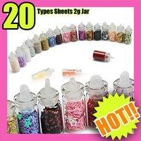 Best Selling Freeshipping 20PCS/Set 5Set Types Nail Art Mini Glitter Sheets Acylic Tips C089