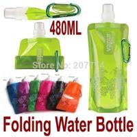 10 pcs/lot Sports mountain climbing Folded water bottle/jug/bag with Carabiner holder/hanger water bag