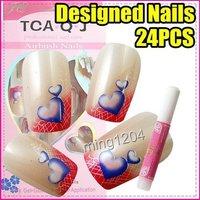Best Selling Freeshipping 24pcs/set Nail Art heart French False Tips + Glue C217
