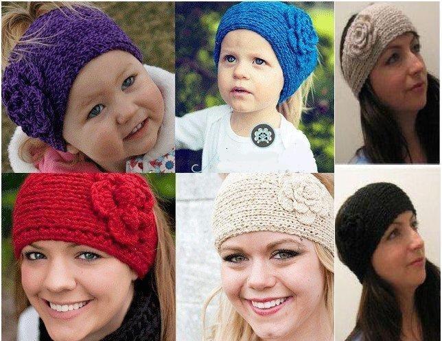 Vender 20pcs/bag, clásico diadema de punto, la flor de las mujeres o los niños hairband botón, hecho a mano/cpam de envío gratis