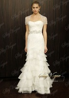 Fast Free Shipping!14 White Tulle  Strapless Layers Wedding Dress
