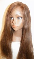Wholesale Top Quality 18inch 100% Indian remy front lace wig yaki straight  #4 chocolate brown