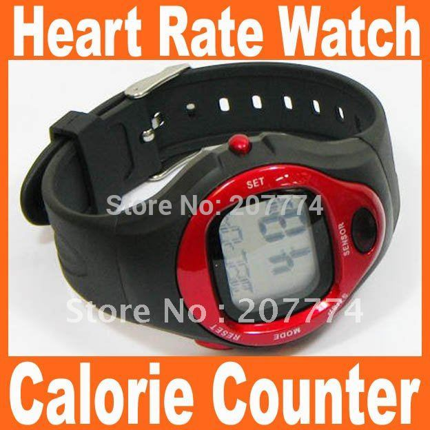 Free shipping Drop Shipping Heart Pulse Sport Wrist watch Heart Rate Counter Calories Monitor Watch Blue Red Silver Can Choose(China (Mainland))