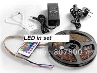 RGB 5050 5M 150LEDs Waterproof Flexible LED Strips +24Key IR Controller+AC/DC Adapter+1 Year Warranty