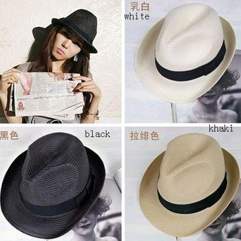 women and men fashion hat, bowler hats, short-brimmed sun hat, PP material beach hat, leisure cap, multi-color, free shipping