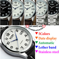 eyki branded watch men autmatic  leather stainless steel wristwatch mens luxury watches top brand 8500