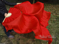 ALL RED 1.8M SILK FAN VEILS IN STOCK