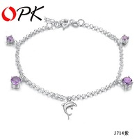 OPK JEWELRY NEW ARRIVEL Free Shipping 925 Sterling Silver anklet crystal dolphin charm anklets chain 714
