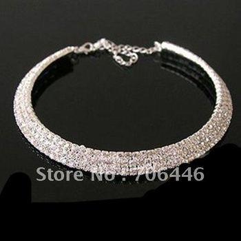 Stretch Memory Wire Silver Plating 3-row rhinestone Choker Bridal/Wedding Necklace Jewelry