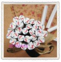 e-02 Free Shipping 100pcs/lot 5mm Cute Kitty Cane Fancy Nail Art  Polymer Clay Cane Nail Art Decoration