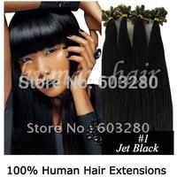 41cm/46cm/51cm/56cm/60cm/66cm Keratin nail tip Indian Remy human hair extension 40g/50g/60g/100g #01 Jet black color 100strands