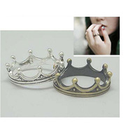 stagement The vintage cute retro simple metal alooy silver gold crown finger ring for women