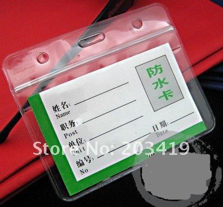 Horizontal Waterproof Badges Holders ID card name PVC card certificate CN post(China (Mainland))