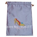 Free shipping 30piece/pack Drawstring Embroidered Two-Laryer Shoe Bags For Women mix color