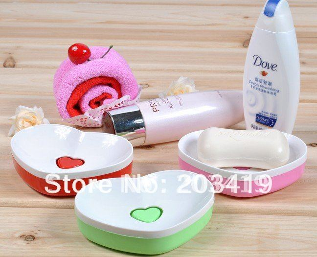 wholesale retail cute plastic love heart bathroom soap box, bath soap holder Japanese Soap Dish Holder Bathroom home appliances(China (Mainland))