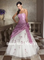 2015 New Arrival Free Shipping Cheap Price ! Good Quality ! Strapless Embroidery A Line Long Dress Beading Prom Dresses