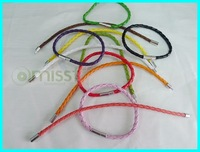 mix colors braided leather cord bracelets w spring clasps 20cm FREE SHIPPING wholesale LBS1-1