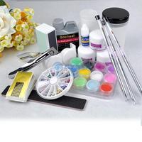 Nail Kit Full Acrylic Powder Liquid UV Gel Set Manicure Glue File Professional or home use free shipping