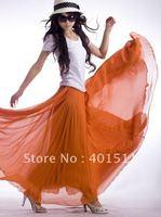 Free shipping 2012 new women's  high quality chiffon orange color skirt  full linning S2001