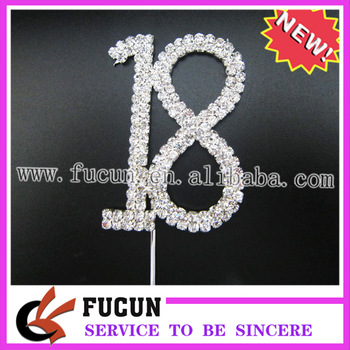"""""""18"""" CAKE TOPPER for cup cake,lowest moq,FREE SHIPPING,clear rhinestone+silver plated base"""