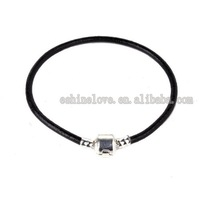 Wholesale 50PcsXSilver Plate*925&Stamped*Black leather Bracelets Fit European Beads Lbr2(1)
