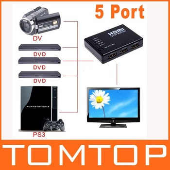 Mini 5 Port 1080P Video HDMI Switch Switcher Splitter with IR Remote, Free Shipping + Wholesale