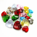 100pcs 14mm Mixed Colours Heart Crystal Beads Hole At The Top Wholesale Heart Charms For Necklace &amp; Braclelet Free Shipping