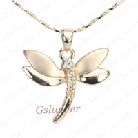 Free Shipping:exclusive sales 18K  Gold   dragonfly  Woman 's Necklace