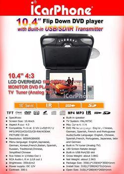 "Car DVD player 10.4"" Roof Mount DVD player TV FM USB SD Flip down DVD FREE SHIPPING"
