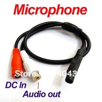 Mini Hidden Audio CCTV Microphone Mic 12V DC RCA output adapter to Security Camera System