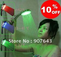 Free Shipping/self-powered. LED Temperature Control 3 Color Lights Shower Head -Creative Home