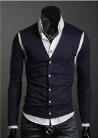 Free Shipping Men's Sweater Cardigans Knitwear V-neck Slim Casual Sweater Y04