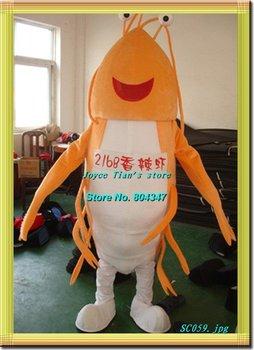 nueva versión luz camarones mascota de dibujos animados traje carácter mascota traje de envío gratis