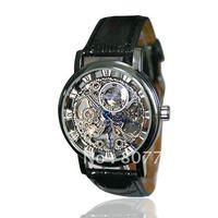 Hot! Mens Black Skeleton mechaical  hand-wind Selfwind Mechanical Watch Wrist Watch