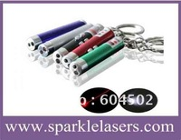 Wholesaler 50pcs/LOT 5mw 2in1 Led Red Laser pointer with Keychain ( 5 colors optional )/ cat toy +free shipping