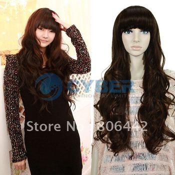 Sexy Stylish Women's Full Long Wavy wig / wigs Curly Pretty Hair Dark Brown