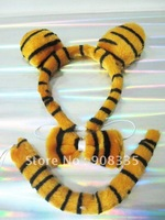 AL-16#  10sets wholesaleCHILDRENS PLUSH TIGER EAR,TOW BOW TIE AND TAIL COSTUME HEADBAND gift toy free shipping