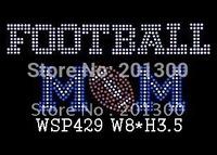 Football mom rhinestone iron on transfer  WSP429