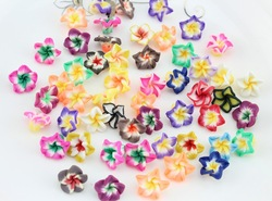 set of 100pcs Polymer Clay Rainbow Mixed Colors Windmill Flowers 18mm wholesale free shipping(China (Mainland))
