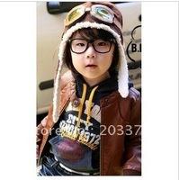 Children Hat With Glass Boy Hat Flight Caps Kids Unisex Winter Hats Earflap 10pcs/lot Brown,Black Color for your choose