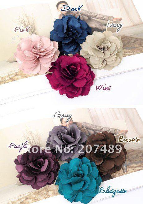 colorful flower Elastic Girl Hair Tie Band silk cloth Headband hair Strap headdress flower hair band breast pin(China (Mainland))