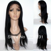 "Hot Sale! silk straight 100% indian remy human hair cheap front lace wigs #1  jet black 6""-24"""